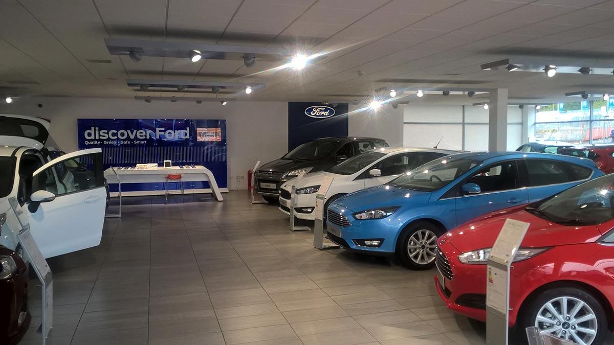 Ford showroom.