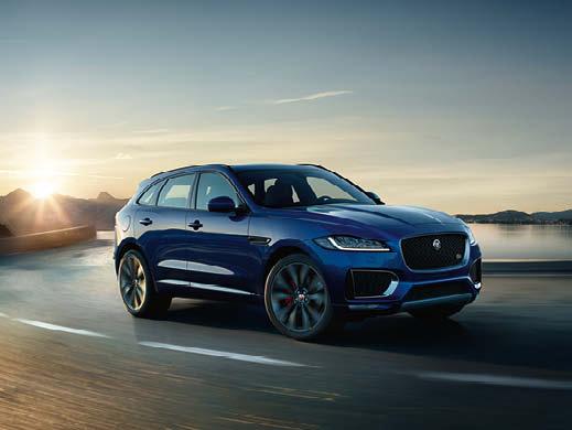 Jaguar F Pace in blue.