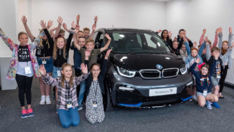 Children With BMW i3 at Pendragon HQ