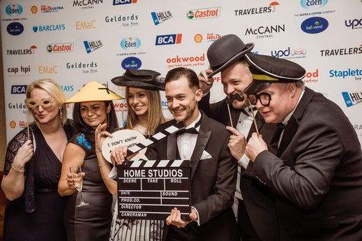 Employees gather for a fun photograph at the Pendragon PLC Awards.