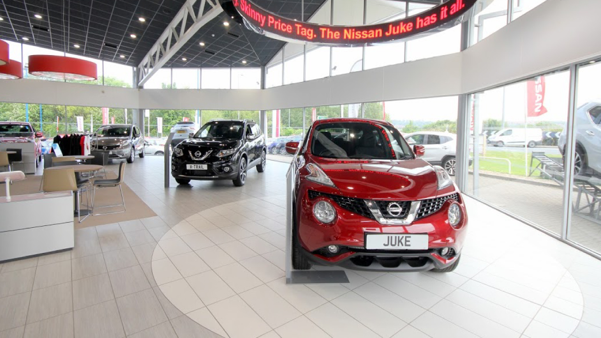 Evans Halshaw Nissan Sunderland car showroom.