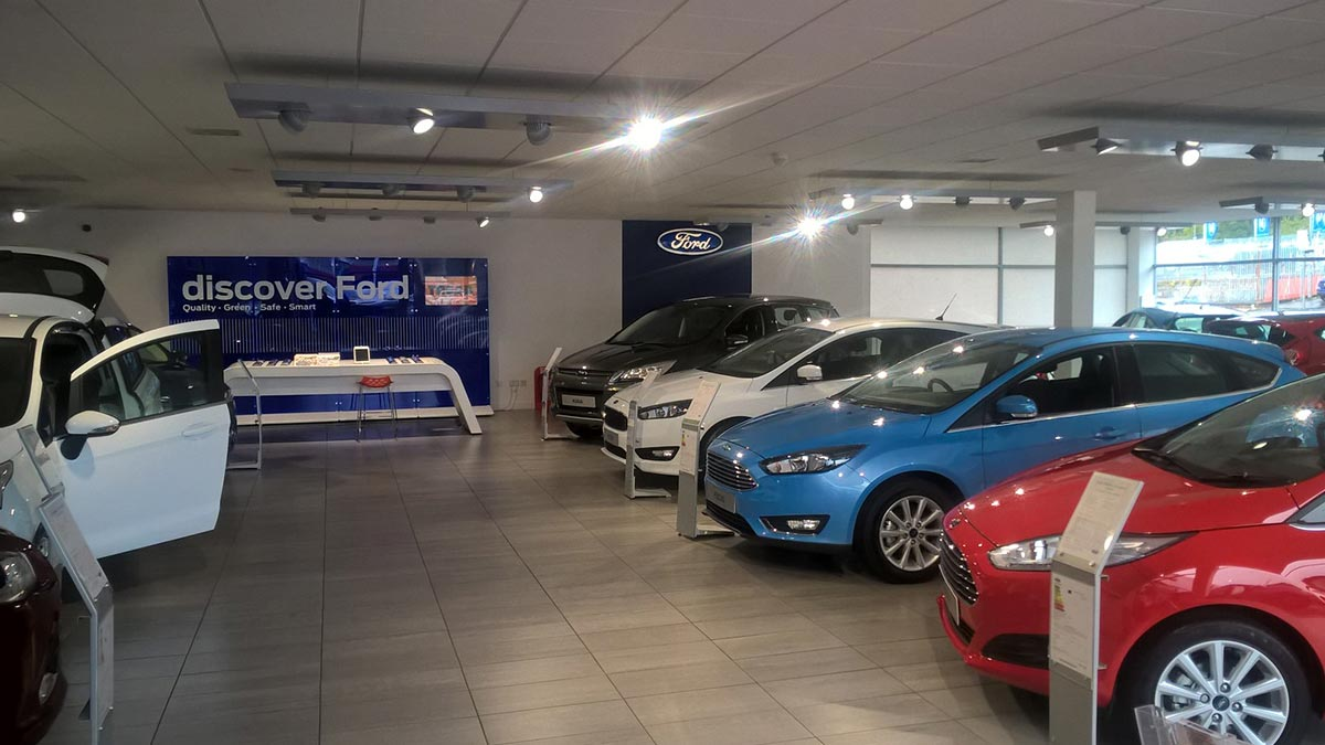 Ford showroom.