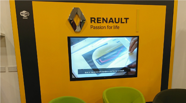 Renault yellow interactive screen.