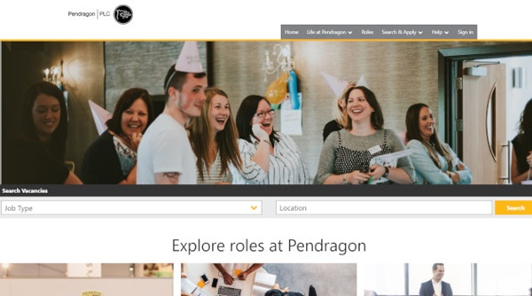 Pendragon PLC's new career website.