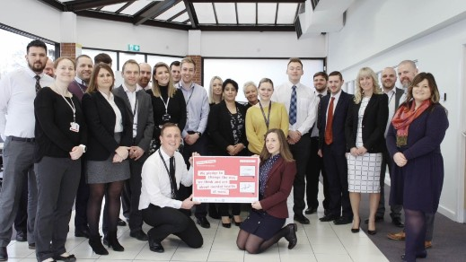 Employees holding Time to Change Pledge