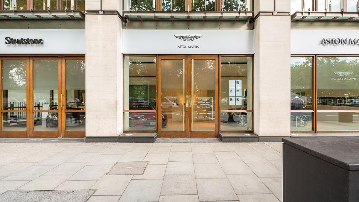 Mayfair Aston Martin exterior.